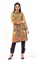 PRINTED SHIRT  EMBROIDERED BOAT NECK WITH BLACK PEARLS EMBELLISHMENT STRAIGHT HEM FULL LENGTH STRAIGHT SLEEVES PRINTED BACK