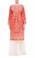 EMBROIDERED KURTA  ROUND NECK  FULL LENGTH SLEEVES  STRAIGHT HEM  PRINTED BACK  BUTTONS