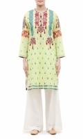 EMBROIDERED KURTA ROUND NECK  FULL LENGTH SLEEVES STRAIGHT HEM  PRINTED BACK  PEARLS AND TASSELS