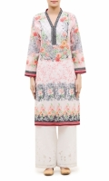 EMBROIDERED KURTA V- NECK  FULL LENGTH STRAIGHT SLEEVES  STRAIGHT HEM  PRINTED BACK
