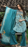 Dupatta : Printed2.5 Meters Shirt Front :Embroidered Printed1.25 meters Shirt Back :Printed1.25 meters Sleeves : Embroidered Printed 1 Pair  Trouser: Dyed2.5 Meters