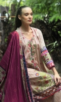 Dupatta : Printed2.5 Meters Shirt Front :Embroidered Printed1.25 meters Shirt Back :Printed1.25 meters Sleeves : Embroidered Printed1 Pair Trouser: Printed2.5 Meters