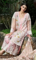 Dupatta :Dyed Net-Embroidered1-Piece  Shirt Front : Dyed-Embroidered1-Piece  Shirt Back : Printed1-Piece  Sleeves :Printed1 Pair  Trouser : Printed1 Piece  Border :Printed1 Piece  Border :Embroidered1 Piece