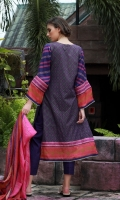 Dupatta : Silk-Printed2.5 Meters Shirt Front :Printed-Embroidered1.25 Meters Shirt Back :Printed 1.25 Meters Sleeves :Silk-Printed1 Pair Trouser Dyed2.5 Meters Border :Printed3 Pieces Border :Embroidered1 Piece Border : Embroidered1 Piece
