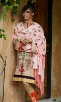 Shawl :	Dyed-Embroidered	2.5 Meters Dupatta : Chiffon-Printed	2.5 Meters Shirt Front :	Dyed-Embroidered	1.25 meters Shirt Back :	Dyed	1.25 meters Sleeves :	Dyed-Embroidered	1 Pair Trouser: Printed	2.5 Meters Panel:	Embroidered	1 Piece Border :	Embroidered	2 Pieces