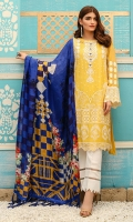 Shirt front: Cotton net embroidered 01-piece Shirt back: Cotton net embroidered 01-piece Sleeves: Cotton net embroidered 01-pair Dupatta: Silk printed 2.5 meters Trouser: Dyed 2.5 meters