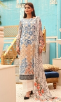 Shirt front: Chiffon embroidered 01-piece Shirt back: Chiffon embroidered 01-piece Sleeves: Chiffon embroidered 01-pair Dupatta: Chiffon embroidered 2.5 meters Border: Embroidered 01-piece Trouser: Dyed 2.5 meters