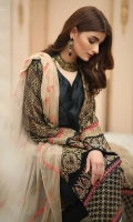 Shirt front: Chiffon embroidered 01-piece Shirt back: Chiffon 01-piece Sleeves: Chiffon embroidered 01-pair Dupatta: Chiffon embroidered 2.5 meters Border Dupatta: embroidered 02-pieces Border: Embroidered 02-pieces Trouser: Dyed 2.5 meters