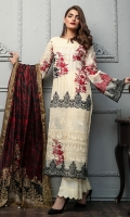 Shirt front: Cotton net embroidered 01-piece Shirt back: Cotton net embroidered 01-piece Sleeves: Cotton net embroidered 01-pair Dupatta: Silk printed 2.5 meters Border: Embroidered 03-pieces Trouser: Dyed 2.5 meters