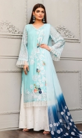Shirt front: Cotton net embroidered 01-piece Shirt back: Cotton net embroidered 01-piece Sleeves: Cotton net embroidered 01-pair Dupatta: Chiffon embroidered 2.5 meters Trouser: Dyed 2.5 meters