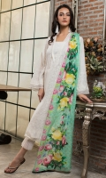 Shirt front: Printed lawn 1.25 meters Shirt back: Printed lawn 1.25 meters Dupatta: Printed lawn 2.5 meters Sleeves: Printed lawn 1-pair Trouser: Dyed 2.5 meters