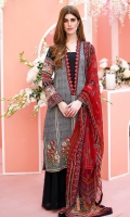Shirt front: Dyed textured lawn embroidered 1.25 meters Shirt back: Dyed textured lawn 1.25 meters Dupatta: Chiffon printed 2.5 meters Sleeves: Printed lawn 1-pair Trouser: Dyed 2.5 meters