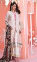 Shirt front: Dyed lawn embroidered 1.25 meters  Shirt back: Jacquard printed 1.25 meters  Dupatta: Silk printed 2.5 meters  Sleeves: Jacquard printed embroidered 1-pair  Trouser: Dyed 2.5 meters