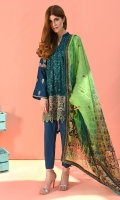Shirt front: Dyed lawn embroidered 1.25 meters Shirt back: Printed lawn 1.25 meters Dupatta: Silk printed 2.5 meters  Sleeves: Dyed lawn embroidered 1-pair Trouser: Dyed 2.5 meters Border: Embroidered 1-piece