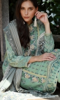 Dupatta : Printed2.5 Meters Shirt Front :Printed1.25 meters Shirt Back :Printed1.25 meters Sleeves :Printed1 Pair Trouser: Dyed2.5 Meters Border :Embroidered1 Piece Bunch :Embroidered2 Piece