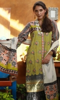 Dupatta : Printed1 Piece Shirt Front :Dyed-Embroidered1.25 meters Shirt Back :Printed1.25 meters Sleeves :Printed1 Pair Trouser: Dyed2.5 Meters Border :Embroidered1 Piece Border :Printed1 Piece Dupatta Border : Printed2 Pieces