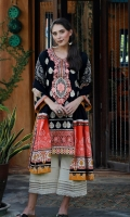 Dupatta : Dyed	1 Piece Shirt Front :	Dyed-Embroidered	1.25 meters Shirt Back :	Printed	1.25 meters Sleeves :	Printed	1 Pair Trouser: Dyed	2.5 Meters Neckline :	Embroidered	1 Piece Border :	Embroidered	1 Piece	 Dupatta Border : Printed	2 Pieces Dupatta Border : Printed	2 Pieces