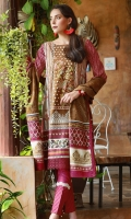 Dupatta : Printed1 Piece Shirt Front :Printed1.25 meters Shirt Back :Printed1.25 meters Sleeves :Printed1 Pair Trouser: Dyed2.5 Meters Panel :Embroidered1 Piece Border :Printed1 Piece Dupatta Border :Printed2 Pieces