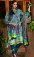 Dupatta : Printed	1 Piece Shirt Front :	Printed-Embroidered	1.25 meters Shirt Back :	Printed	1.25 meters Sleeves :	Printed	1 Pair Trouser: Dyed	2.5 Meters Border :	Printed	1 Piece Dupatta Border :Printed	2 Pieces
