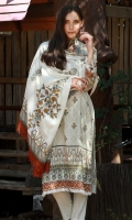 Dupatta : Printed2.5 Meters Shirt Front :Printed1.25 meters Shirt Back :Printed1.25 meters Sleeves :Printed1 Pair Trouser: Dyed2.5 Meters Border :Embroidered1 Piece Neckline :Embroidered1 Piece