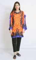 EMBELISHED SILK SHIRT V- NECK STRAIGHT HEIM FULL LENGTH BELL SLEEVES PRINTED BACK