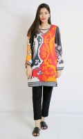 PRINTED SILK SHIRT V- NECK ROUND HEIM FULL LENGTH BELL SLEEVES PRINTED BACK