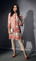 PRINTED SHIRT  HIGH NECK FULL LENGTH STRAIGHT SLEEVES FRONT OPEN PRINTED BACK