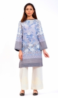 PRINTED SHIRT BOAT NECK WITH PEARLS EMBELLISHMENT FULL LENGTH STRAIGHT SLEEVES STRAIGHT HEM  PRINTED BACK