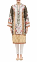 PRINTED KURTA  ROUND NECK FULL LENGTH SLEEVES STRAIGHT HEM PRINTED BACK  PEARLS WITH TESSEL