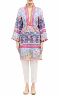 PRINTED KURTA  V-NECK WITH FRILL BAND  FULL LENGTH STRAIGHT SLEEVES  STRAIGHT HEM  PRINTED BACK