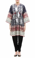 PRINTED KURTA  ROUND NECK  FULL LENGTH STRAIGHT SLEEVES  STRAIGHT HEM  PRINTED BACK  LACE AND TASSELS