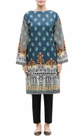 PRINTED KURTA  ROUND NECK  FULL LENGTH STRAIGHT SLEEVES  STRAIGHT HEM  PRINTED BACK  PEARLS