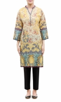 PRINTED KURTA  BAND COLLAR NECK  FULL LENGTH STRAIGHT SLEEVES  STRAIGHT HEM  PRINTED BACK
