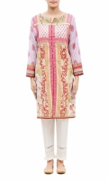 PRINTED KURTA  ROUND NECK  FULL LENGTH STRAIGHT SLEEVES  STRAIGHT HEM  PRINTED BACK  PEARLS AND STONES