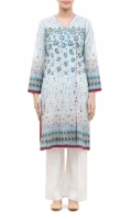 PRINTED KURTA  V-NECK  FULL LENGTH STRAIGHT SLEEVES  STRAIGHT HEM  PRINTED BACK  BUTTONS