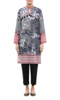 PRINTED KURTA  ROUND BAND NECK  FULL LENGTH STRAIGHT SLEEVES  STRAIGHT HEM  PRINTED BACK  TASSELS