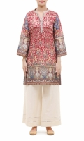 PRINTED KURTA  LACE EMBALISHED BAND COLLAR NECK  FULL LENGTH STRAIGHT SLEEVES  STRAIGHT HEM  PRINTED BACK  LACE