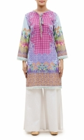 PRINTED KURTA  ROUND BOW NECK  FULL LENGTH STRAIGHT SLEEVES  STRAIGHT HEM  PRINTED BACK  LACE