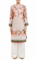 PRINTED KURTA  ROUND NECK  FULL LENGTH STRAIGHT SLEEVES  STRAIGHT HEM  PRINTED BACK  PEARLS AND LACE