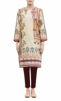 PRINTED KURTA  ROUND NECK  FULL LENGTH CUT SLEEVES  STRAIGHT HEM  PRINTED BACK  PEARLS