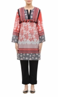 ROUND NECK  FULL LENGTH STRAIGHT SLEEVES  STRAIGHT HEM  PRINTED BACK  TASSELS AND PEARLS