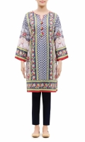 PRINTED KURTA ROUND NECK FULL LENGTH STRAIGHT SLEEVES STRAIGHT HEM PRINTED BACK TASSELS AND PEARLS