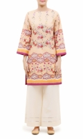 PRINTED KURTA  EMBALISHED ROUND NECK  FULL LENGTH STRAIGHT SLEEVES STRAIGHT HEM  PRINTED BACK