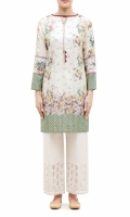 PRINTED KURTA BOAT NECK WITH EMBBALISHED BAND  FULL LENGHTH STRAIGHT EMBALISHED SLEEVES STRAIGHT HEM  PRINTED BACK