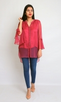 CHIFFON STYLIZED SHORT SHIRT AND NECK WITH LINING FULL LENGTH STYLIZED SLEEVES ROUND HEIM