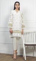 Embroidered kameez Chinese neck embellished with pearls Straight sleeves Straight hem