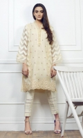 Jacquard floral embroidered shirt Round neck with pearls embellished frills patti Straight embroidered sleeves Straight hem