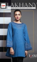 DENIM EMBROIDERED TOP BOAT NECK STRAIGHT SLEEVES STRAIGHT HEM