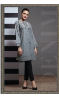 FRONT OPEN DENIM EMBROIDERED SHIRT SHERWANI NECK STRAIGHT SLEEVES STRAIGHT HEIM