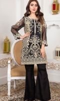 Embellish with dabka work and naqshi Cut dana black moti with golden sequence